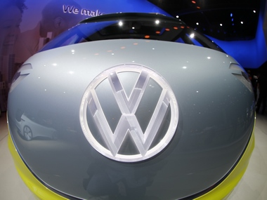 The Volkswagen logo on a concept car. Reuters