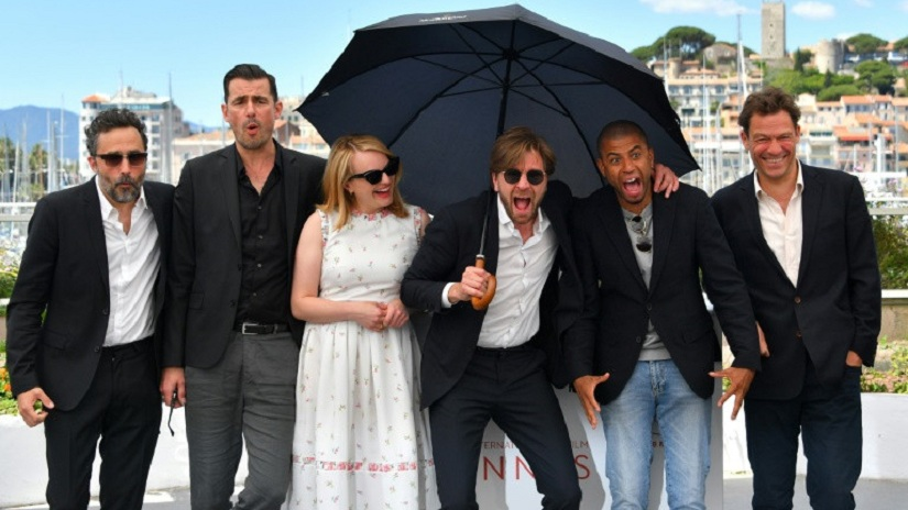 File picture: From left , Producer Erik Hemmendorff, actor Claes Bang, actress Elisabeth Moss, director Ruben Ostlund, actor Christopher Læsso and actor Dominic West during a photocall for 'The Square' at Cannes in May 2017. Image courtesy: Loic Venance/ AFP