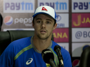 Travis Head speaks to reporters in Hyderabad ahead of the final T20I between India and Australia. AP