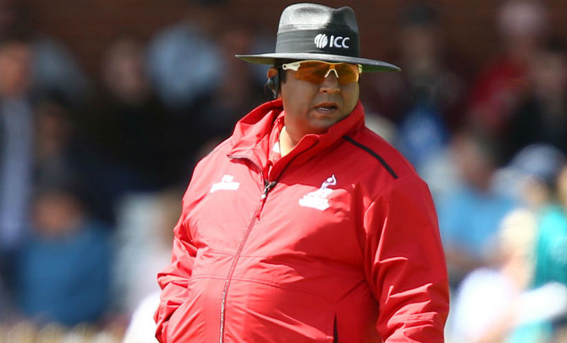 Ahsan Raza officiating during the ICC Women's World Cup match between England and New Zealand in Derby. Getty Images