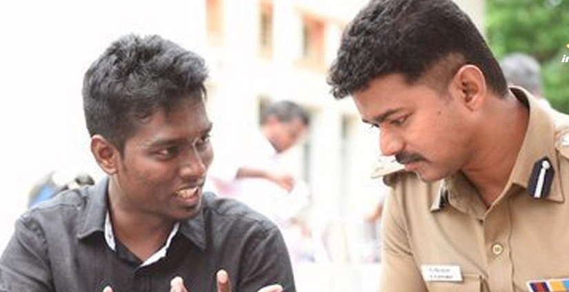 Atlee and Vijay on the sets of Thari. YouTube