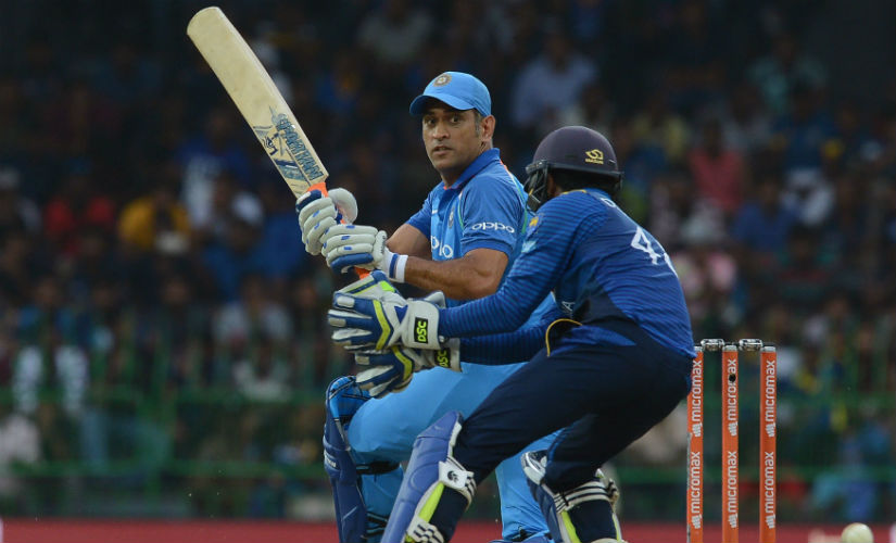 India's MS Dhoni plays a shot in the 4th ODI against Sri Lanka in Colombo. The two teams will play another full series in about a months' time. AFP