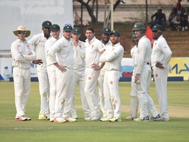 Zimbabwe took the Day 1 honours after Graeme Cremer and Sean Williams combined to skittle Windies out for 219. Image courtesy: Twitter @ZimCricketv