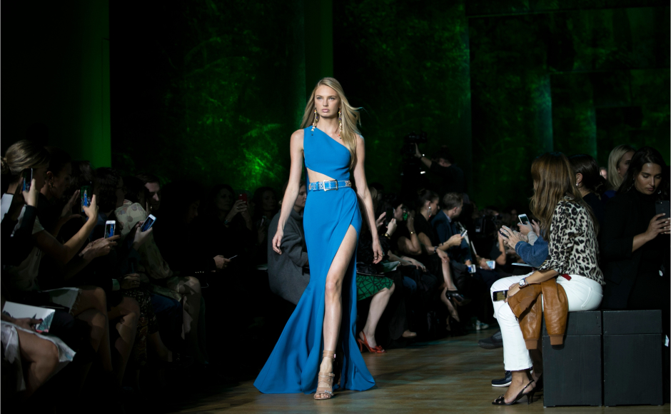 Elie Saab displays colourful collection at the ready-to-wear fashion week in Paris