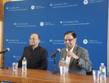 Jaitley stoutly defends demonetisation, GST at Columbia University; next stop Harvard