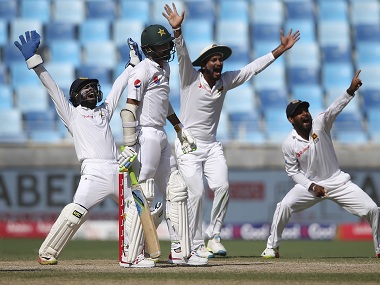 Sri Lanka players celebrate the dismissal of Mohammad Amir. AP