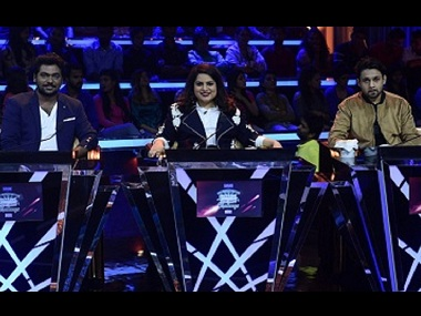 Zakir Khan, Mallika Dua and Hussain Dalal in The Great Indian Laughter Challenge. Image from Twitter/teleworldin
