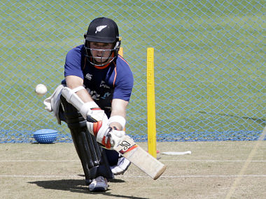 New Zealand's Tom Latham bats during a practice session in Pune. AP