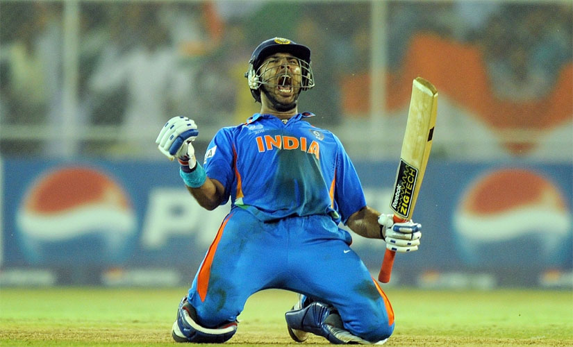 In this iconic image from the 2011 World Cup, Yuvraj Singh celebrates after India beat defending champions Australia to progress to the semi-final. AFP