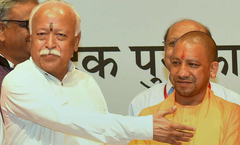 Mohan Bhagwat, Yogi Adityanath share stage at Vedic education awards ceremony in Delhi