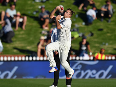 New Zealand's Tim Southee bowls during the second Test cricket match between New Zealand and South Africa at the Basin Reserve in Wellington on March 16, 2017. / AFP PHOTO / Marty MELVILLE