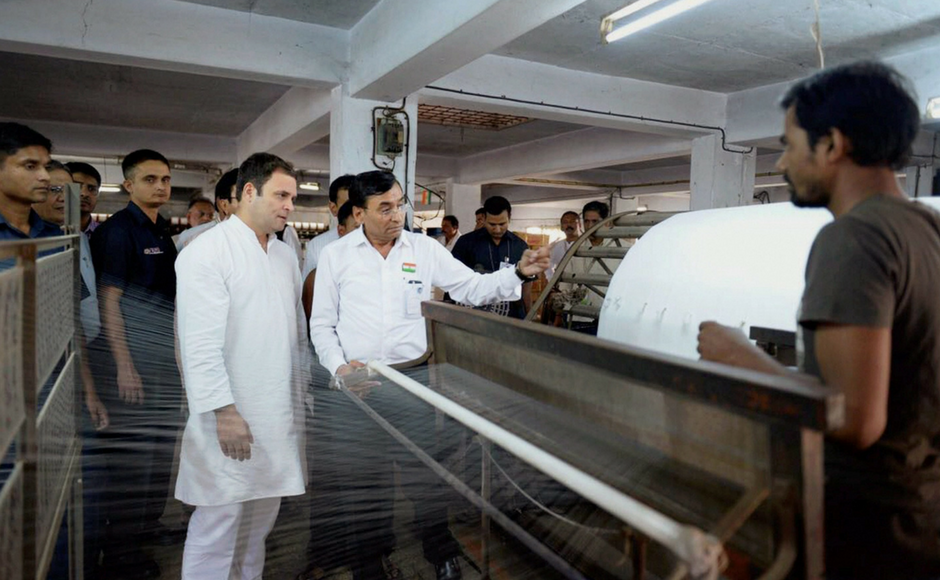 Rahul Gandhi visits textile factory in Surat, says traders affected by GST and demonetisation