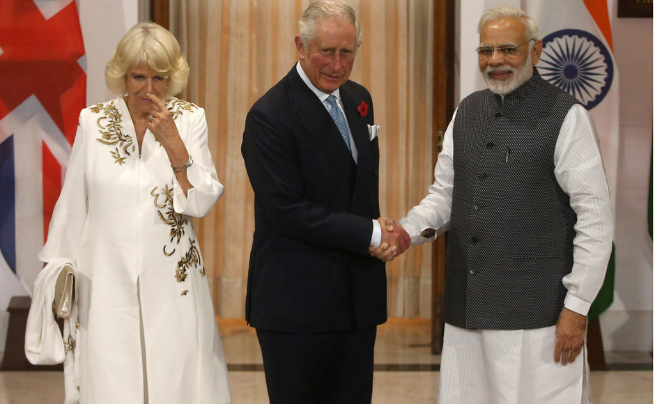 Britain's Prince Charles, Camilla Parker Bowles meet Narendra Modi during Commonwealth nations tour