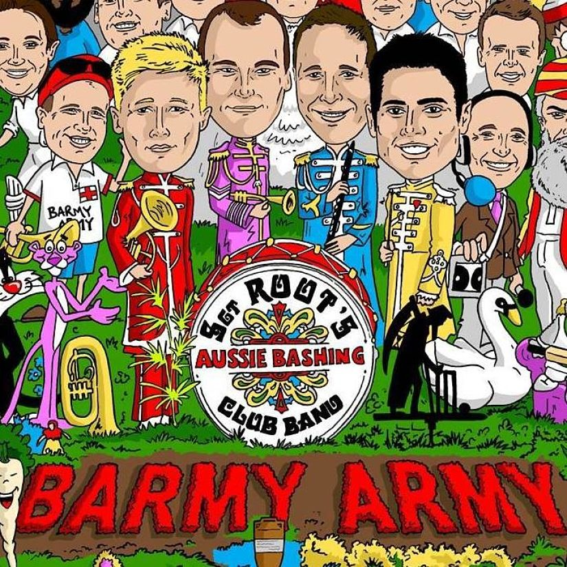 The barmy Army T-shirt print for the 2017-18 Ashes in Australia. Barmy Army FB page