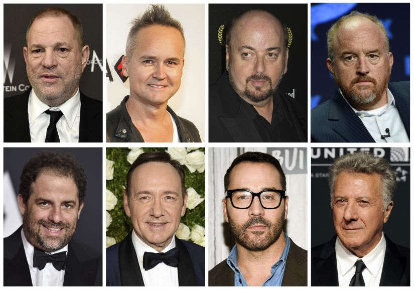 Top row from left: film producer Harvey Weinstein, former Amazon Studios executive Roy Price, director James Toback, comedian Louis CK and bottom row from left: filmmaker Brett Ratner, actor Kevin Spacey, actor Jeremy Piven and actor Dustin Hoffman. AP