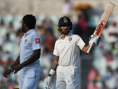 Shikhar Dhawan in action on Day 3. AFP