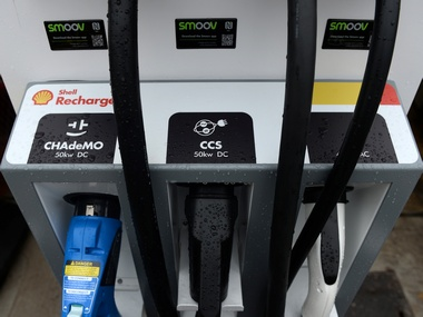 Electric car chargers are seen at the Holloway Road Shell station where Shell is launching its first fast electric vehicle charging station in London, Britain October 18, 2017. REUTERS/Mary Turner