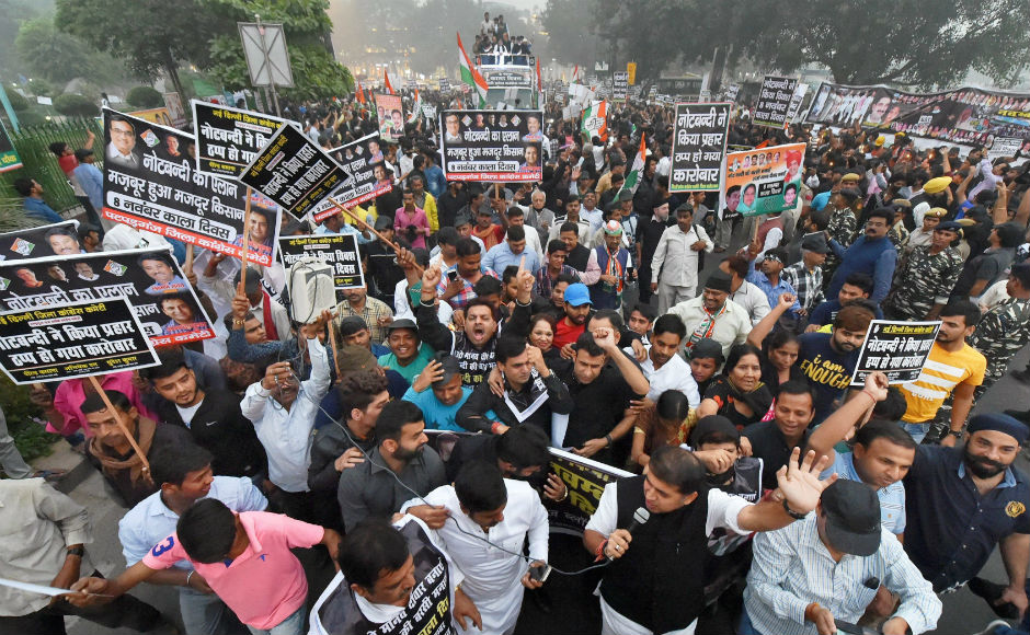 Demonetisation anniversary: Opposition observes 'black day', stages protests across India