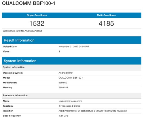 BlackBerry KEYone successor with Snapdragon 660 SoC, 6GB of RAM leaked