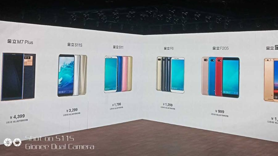 Gionee S11, S11s, F6, Steel 3, M7 Plus and F205 smartphones unveiled
