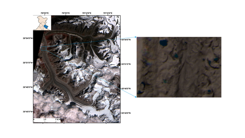 Satellite image of Gangotri glacier (with its location shown in the inset image). The zoomed-in view represents glacial lakes. India Science Wire
