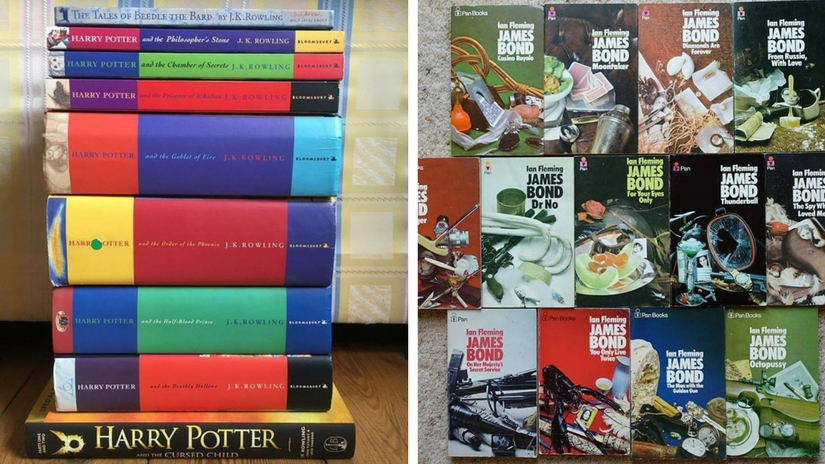 Harry Potter Books (left); James Bond books (right). Images via Facebook
