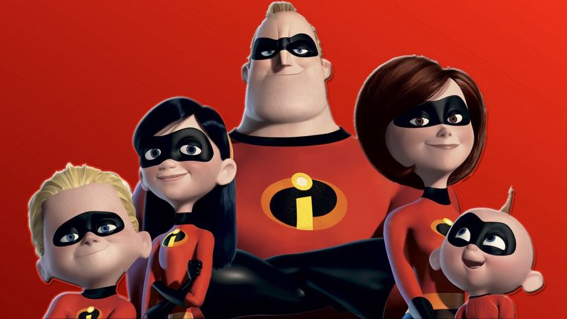 The 2004 Pixar animated film The Incredibles is about a family of superheroes living in the suburbs who are forced to hide their powers from society