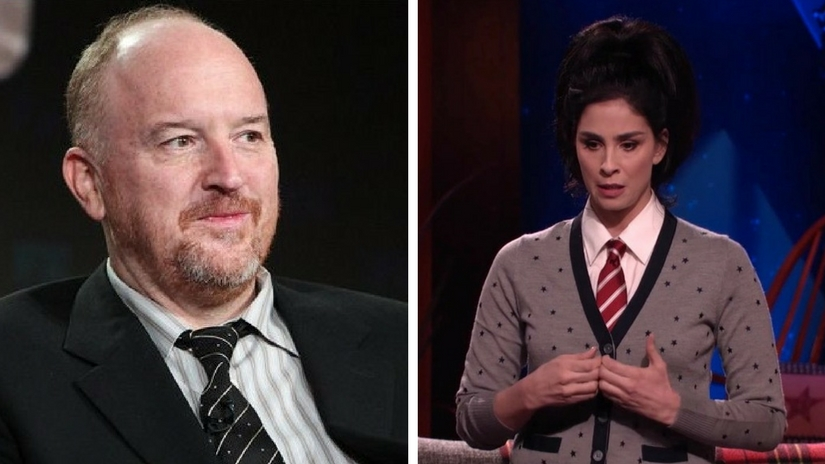 Louis CK (left) and Sarah Silverman (right). Images via Twitter