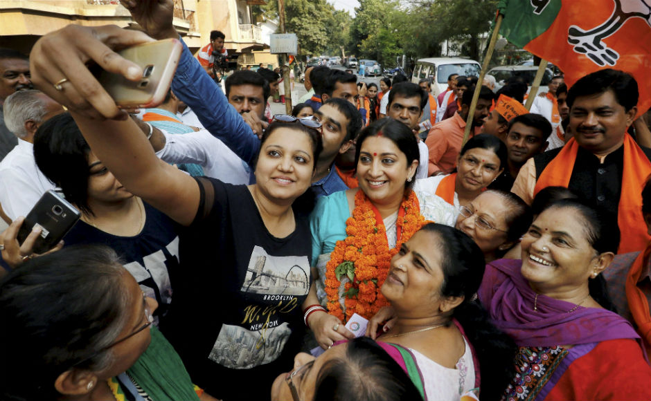 Smriti Irani campaigns for BJP in Ahmedabad ahead of Gujarat Assembly elections