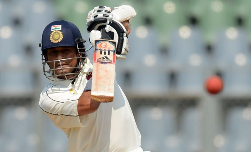 Sachin Tendulkar bats during the Ranji Trophy match against Railways at the Wankhede stadium in Mumbai on November 2, 2012. AFP