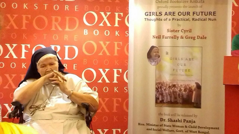 Sister Cyri at the launch of her book, Girls are our future. Image via Facebook