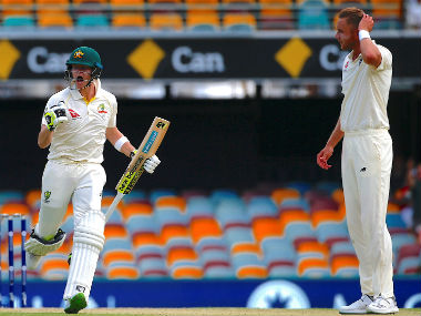 Steve Smith celebrates after bringing up his 21st Test century as Stuart Broad looks on. Reuters