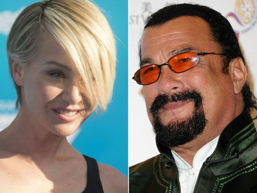 """(COMBO) This combination of pictures created on November 9, 2017 shows actress Portia de Rossi attending the Disney premiere of """"Finding Dory"""" at El Capitan Theater in Hollywood, California, on June 8, 2016 and actor Steven Seagal attending 2014 Chinese American Film Festival Opening Night Ceremony at Pasadena Civic Auditorium on November 4, 2014 in Pasadena, California. US action movie actor Steven Seagal was the latest Hollywood man to face mounting allegations of sexual harassment on November 9, 2017, following the downfall of Harvey Weinstein and Kevin Spacey.Portia de Rossi, the former Ally McBeal actress and wife of chat queen Ellen DeGeneres, accused the former martial arts expert and blues musician over an undated audition for a Seagal movie in his office.""""He told me how important it was to have chemistry off-screen as he sat me down and unzipped his leather pants,"""" de Rossi tweeted late Wednesday. / AFP PHOTO / AFP PHOTO AND GETTY IMAGES NORTH AMERICA / Valerie MACON"""