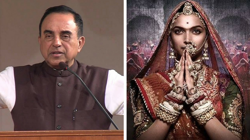 Subramanian Swamy (left); Deepika Padukone in Padmavati poster (right). Images via Facebook