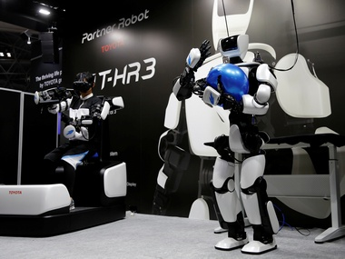 Toyota's third generation humanoid robot, T-HR3 is seen during its demonstration at the International Robot Exhibition 2017. Image; Reuters