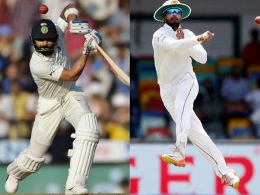 Indian captain Virat Kohli and his Sri Lankan counterpasrt Dinesh Chandimal. Agencies