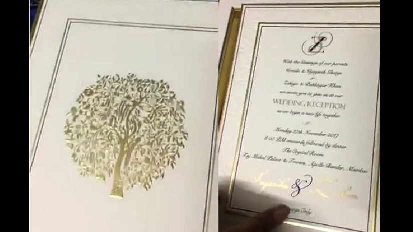 The wedding card of Zaheer Khan and Sagarika Ghatge. Image courtesy: Twitter