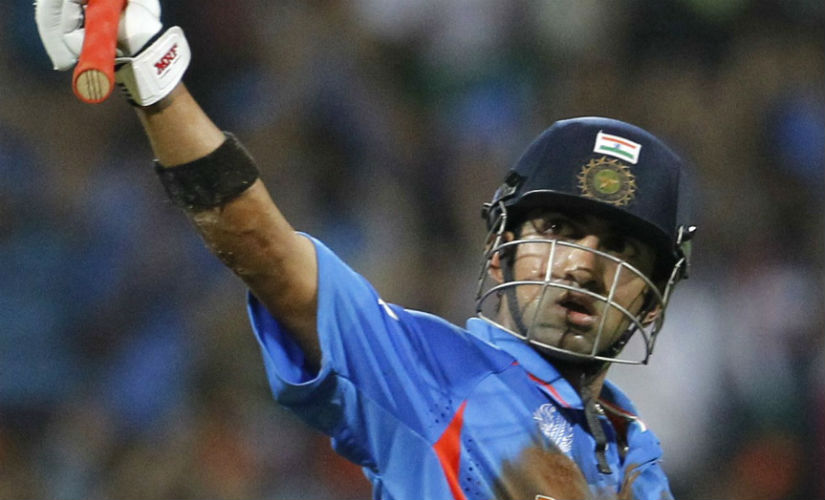 Gautam Gambhir acknowledges the crowd after scoring his fifty during 2011 World Cup final against Sri Lanka in Mumbai. Reuters