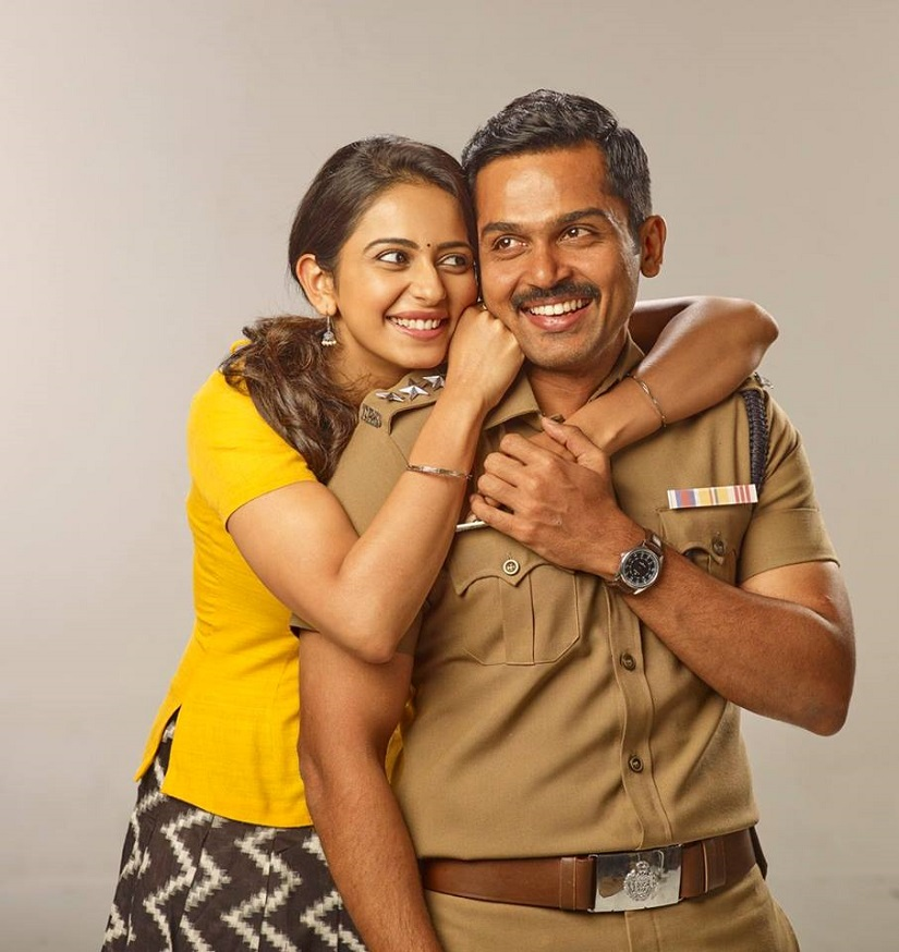 Karthi and Rakul Preet Singh in a character poster for . Image from Facebook/@TheeranOfficial