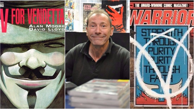 Covers for V for Vendetta; David Lloyd. Images via Wikimedia Commons, Facebook/@GnBComics