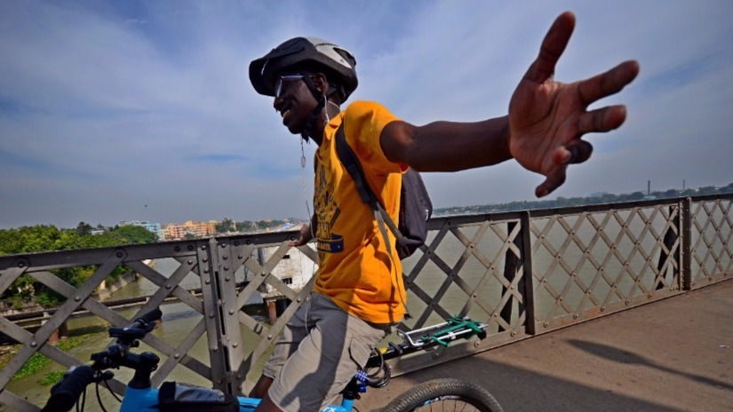 Cycling for change Peter Ngugis oneman quest to protest racism against Africans in India
