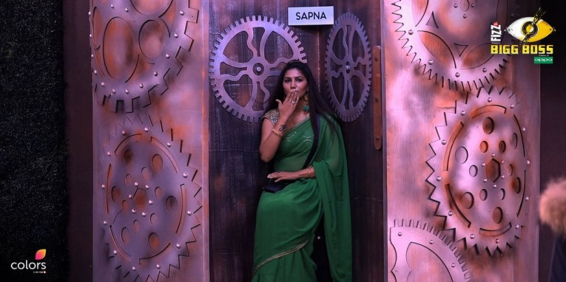 Sapna in the eviction chair on Bigg Boss 11. Image from Twitter/@ColorsTV