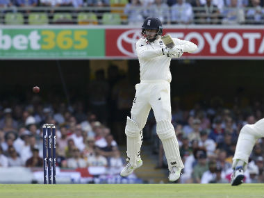 England's James Vince plays a shot during the first Ashes Test in Brisbane. AP