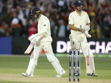 England's Alastair Cook looks on after Mark Stoneman lost his wicket during the Adelaide Test. AP
