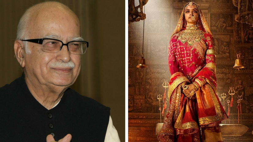 Senior BJP leader LK Advani (left); Padmavati poster (right). Images via Facebook