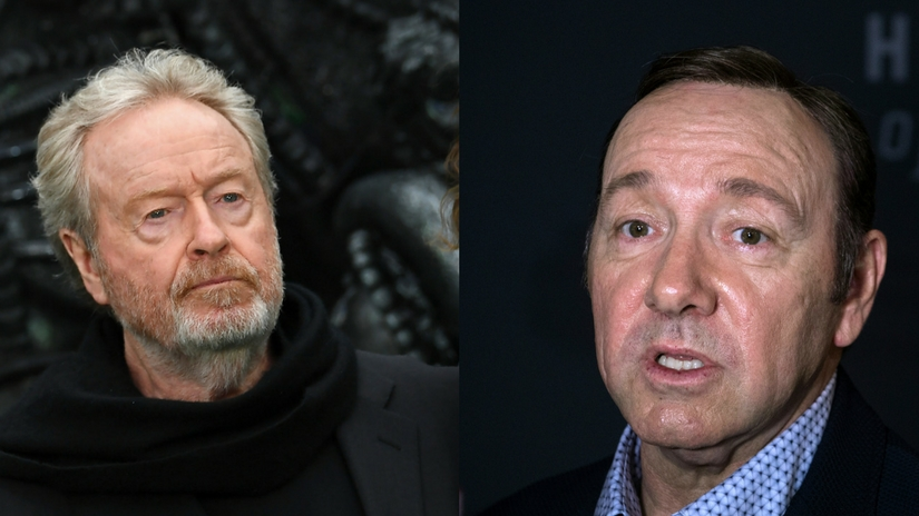 Director Ridley Scott (left); Kevin Spacey (right). Images via Facebook