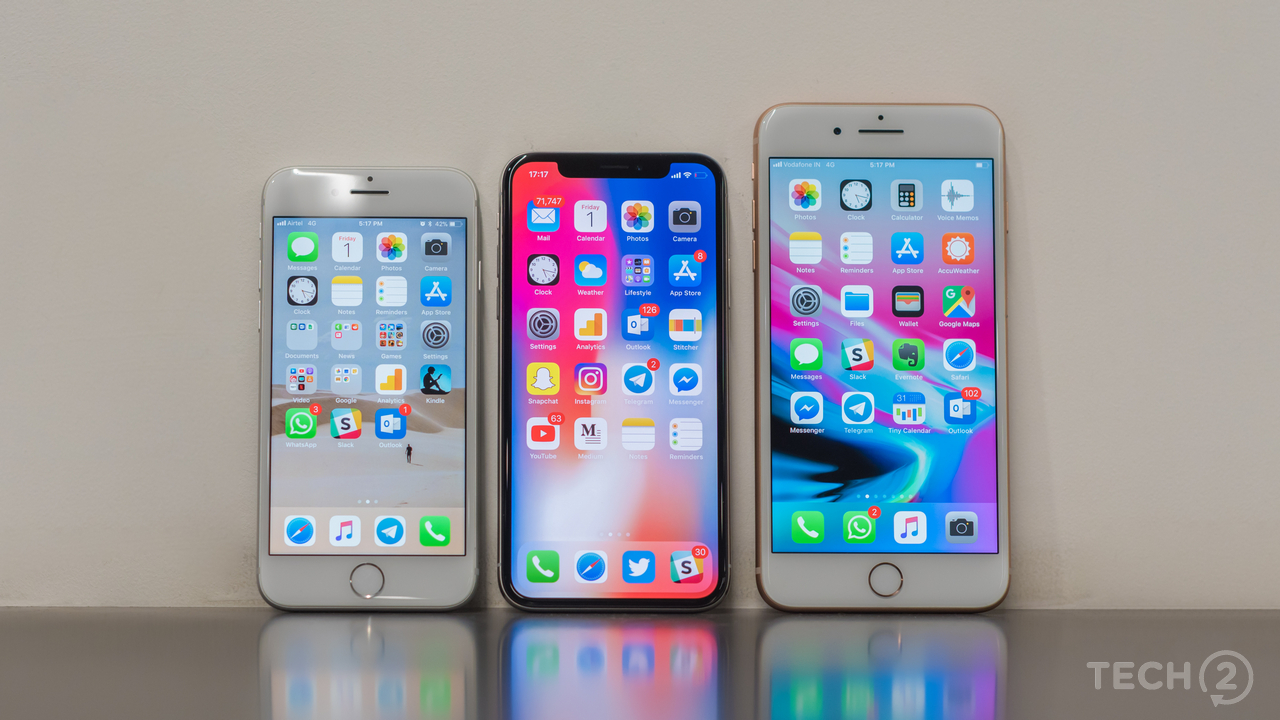 The iPhone 8, iPhone X and the iPhone 8 Plus seen side-by-side. Image: tech2/Rehan Hooda