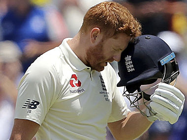 England's Jonny Bairstow celebrates scoring 100 runs against Australia during the second day of their Ashes cricket test match in Perth, Australia, Friday, Dec. 15, 2017. (AP Photo/Trevor Collens)