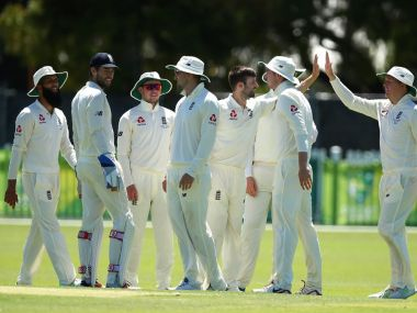 England players celebrate a wicket during the warm-up match against Cricket Australia XI. Image courtesy: Twitter @englandcricket