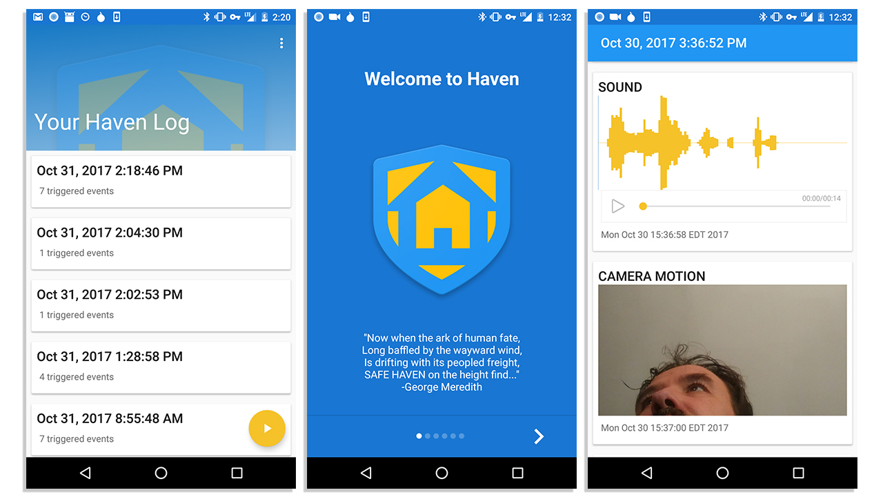 Screenshots from the Haven app
